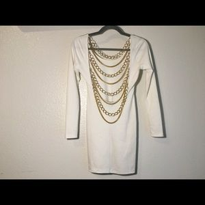 White Bodycon Dress with Gold Chain Detail